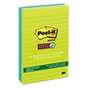 Post-it Recycled Notes in Bora Bora Colors, Lined, 4 x 6, 90-Sheet, 3/Pack