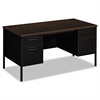 Metro Classic Double Pedestal Desk, 60w x 30d x 29 1/2h, Mocha/Black