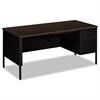 HON Metro Classic Right Pedestal Desk, 66w x 30d, Mocha/Black