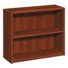 HON 10700 Series Wood Bookcase, Two Shelf, 36w x 13 1/8d x 29 5/8h, Cognac