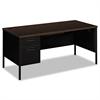 Metro Classic Left Pedestal Desk, 66w x 30d, Mocha/Black