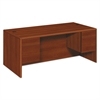 HON 10700 Series Desk, 3/4 Height Double Pedestals, 72 x 36 x 29 1/2, Cognac