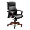 HON 5000 Series Executive High-Back Swivel/Tilt Chair, Black Vinyl/Cognac