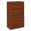 HON 10700 Series Four Drawer Lateral File, 36w x 20d x 59 1/8h, Cognac