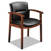 HON 5000 Series Park Avenue Collection Guest Chair, Black Vinyl/Cognac