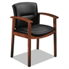 HON 5000 Series Park Avenue Collection Guest Chair, Black Leather/Cognac