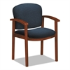 HON 2111 Invitation Reception Series Wood Guest Chair, Cognac/Solid Blue Fabric