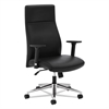 basyx VL108 Executive High-Back Chair, Black Leather
