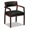 basyx VL850 Series Wood Guest Chairs w/Black Leather Seat/Upholstered Back, Mahogany