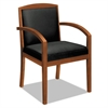 VL850 Series Wood Guest Chair, Black Leather Upholstery w/Cherry Veneer