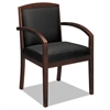 basyx VL850 Series Wood Guest Chair, Black Leather Upholstery w/Mahogany Veneer