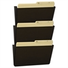 Storex Wall File, Letter, 13 x 14, Three Pocket, Smoke