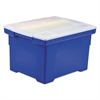 Storex Plastic File Tote Storage Box, Letter/Legal, Snap-On Lid, Blue/Clear