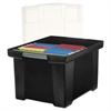 Storex Plastic File Tote Storage Box, Letter/Legal, Snap-On Lid, Black