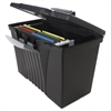Storex Portable File Storage Box w/Organizer Lid, Letter/Legal, Black