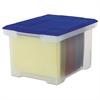 Plastic File Tote Storage Box, Letter/Legal, Snap-On Lid, Clear/Blue