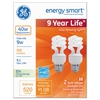 GE Compact Fluorescent Bulb, 9 Watts, Spiral, Soft White, 2/Pack, 6 Packs/Carton