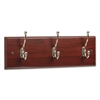 Safco Wood Wall Rack, Three Double-Hooks, 18w x 3-1/4d x 6-3/4h, Mahogany