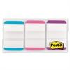 File Tabs, 1 x 1 1/2, Aqua/Pink/Violet, 66/Pack