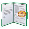 "WaterShed/CutLess Folder, Top Tab, 2 Fasteners, 3/4"" Exp., Letter, Green, 50/Box"