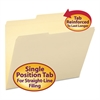 Guide Height Folder, 2/5 Cut Right, Two-Ply Tab, Letter, Manila, 100/Box