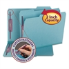 Colored Pressboard Fastener Folders, Letter, 1/3 Cut, Blue, 25/Box