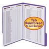 "Smead WaterShed/CutLess Folder, Top Tab, 2 Fasteners, 3/4"" Exp., Letter, Purple, 50/BX"