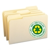 Smead 100% Recycled File Folders, 1/3 Cut, One-Ply Top Tab, Legal, Manila, 100/Box
