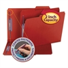 Colored Pressboard Fastener Folders, Letter, 1/3 Cut, Bright Red, 25/Box