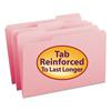 File Folders, 1/3 Cut, Reinforced Top Tab, Legal, Pink,100/Box