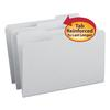 File Folders, 1/3 Cut, Reinforced Top Tab, Legal, Gray, 100/Box