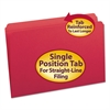 File Folders, Straight Cut, Reinforced Top Tab, Legal, Red, 100/Box