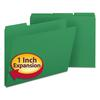 Smead Recycled Folders, One Inch Expansion, 1/3 Top Tab, Letter, Green, 25/Box