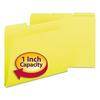 Recycled Folders, One Inch Expansion, 1/3 Top Tab, Letter, Yellow, 25/Box