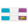 Post-it File Tabs, 1 x 1 1/2, Aqua/White/Violet, 66/Pack