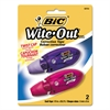 "BIC Wite-Out Mini Twist Correction Tape, Non-Refillable, 1/5"" x 314"", 2/Pack"
