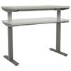 Adjustable T-Leg Base, 72w x 24d x 23 5/8-48 1/4h, Silver