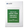 Recycled Project Folder, Jacket, Legal, Poly, Clear, 25/Box