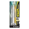 Pilot G2 Metallics Retractable Gel Ink Pen, 3 Assorted Inks, 0.7 Fine Point