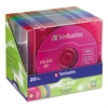 CD-RW Discs, 700MB/80min, 4X, Slim Jewel Case, Assorted Colors, 20/Pack