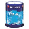 Verbatim CD-R Discs, 700MB/80min, 52x, Spindle, Silver, 100/Pack