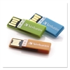 Verbatim Clip-It USB 2.0 Flash Drive, 4GB, Blue/Green/Orange, 3/Pack