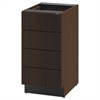 Hospitality Single Base Cabinet, Four Drawers, 18w x 24d x 36h, Mocha