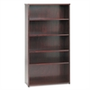 basyx BW Wood Veneer Series Five-Shelf Bookcase, 36w x 13d x 66h, Mahogany