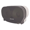 Boardwalk Twin Toilet Tissue Dispenser, Two Standard Rolls, Smoke Black,5 3/8x11 1/8x7 7/8