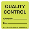 Warehouse Labels, 4 7/8 x 3 1/2, QUALITY CONTROL APPROVED/DATE, 500/Roll