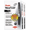 Pentel WOW! Retractable Gel Pen, .7mm, Translucent Barrel, Black Ink, 24/Pack