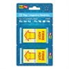 "Spanish Page Flags in Pop-Up Dispenser, ""FIRME AQUl"", Red/Yellow, 100/Pack"