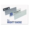 The Mighty Badge Name Badge Starter Kit, Silver, Inkjet Inserts, 1 x 3, 10 per Kit