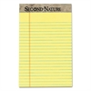 Second Nature Recycled Pads, Jr. Legal, 5 x 8, Canary, 50 Sheets, Dozen